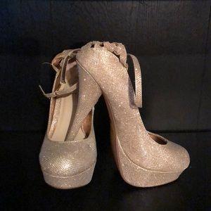 1a1039ba3725 Rouge Helium Shoes - Rouge Helium Gold Glitter Platform High Heels 9